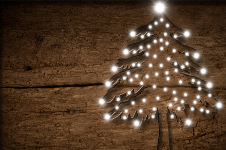 Christmas rustic, Christmas tree with lights old wood Reklamní fotografie