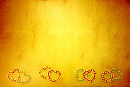 yelow: Yelow Valentine day textured paper background with hearts Stock Photo