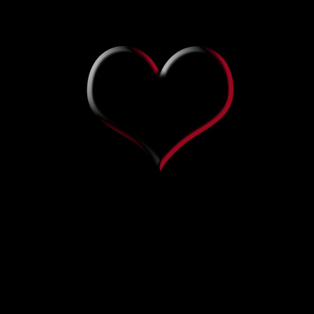 space for writing: Card Valentines Day, transparent heart on black background with space for writing or put photo