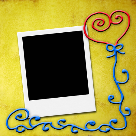 One blank instant photo frame ,Valentines day or wedding card photo