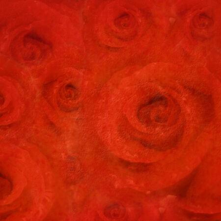 roses rouges: Amour fond, roses rouges sur le papier textur� Banque d'images