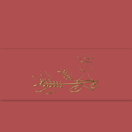 chalice: First Holy Communion Card,golden chalice and ears on marsala color background