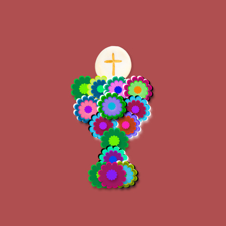 first holy communion: First Holy Communion Card, chalice of flowers on marsala color background
