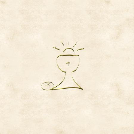 Première carte de la Sainte Communion, calice d'or et animateur à la crème fond de couleur Banque d'images - 36001369