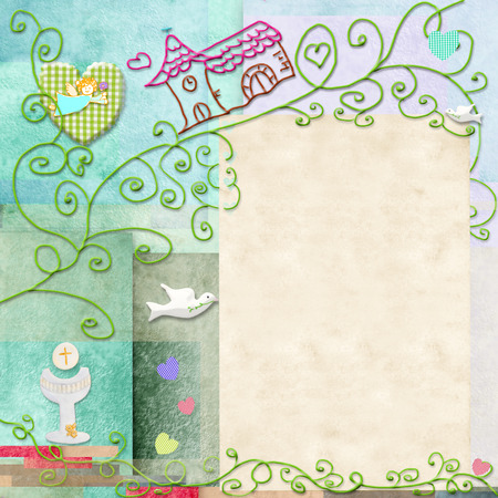 First Holy Communion invitation.Space to write message or add a photo Stock Photo