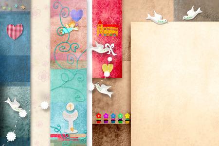 holy symbol: Colorido tarjeta de invitaci�n Primera Comuni�n con el espacio en blanco para escribir las fechas y puso la foto