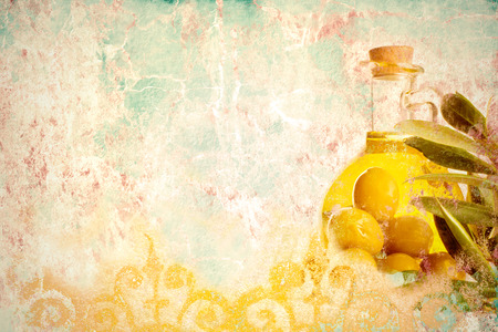 space for writing: Olive oil, Mediterranean style colorful background with space for writing slogan