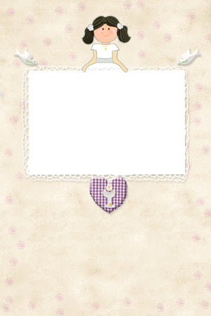 space for writing: My First Communion invitation card brown girl with empty frame to put a photo and space for writing