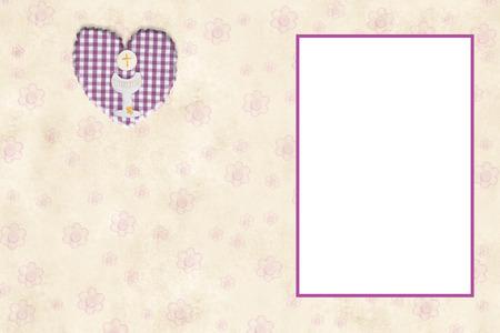 Mi Tarjeta De Invitación De Primera Comunión De Niña Con Marco Vacío ...