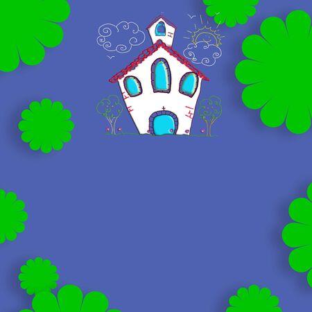 confirmacion: Primera comuni�n, confirmaci�n o el bautismo invitaci�n, la iglesia y las flores en fondo azul y el espacio en blanco para la personalizaci�n