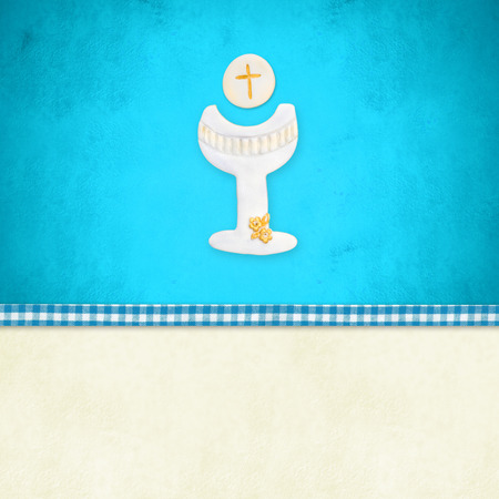 customization: My First Holy Communion invitation reminder card,Chalice in blue background and blank space to customization