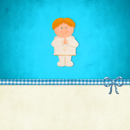 customization: My First Holy Communion invitation card, blonde boy praying  on blue background with blank space for customization