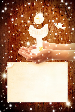 First Holy Communion invitation, Chalice and wafer in the hands of a child, and copy space to customize
