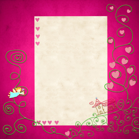 First Holy Communion invitation.Religious symbols and space for text or put photo on pink background for girl. Stock Photo