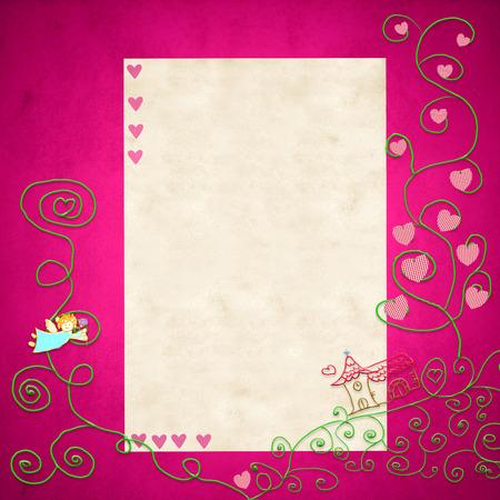 prima comunione: I primi simboli Santa Comunione invitation.Religious e lo spazio per il testo o mettere foto su sfondo rosa per la ragazza. Archivio Fotografico