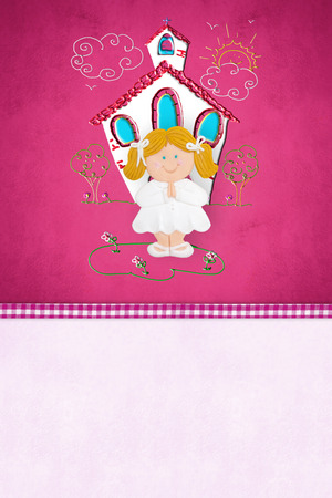 First Communion  reminder card for girl, blonde girl and church with copy space for text photo