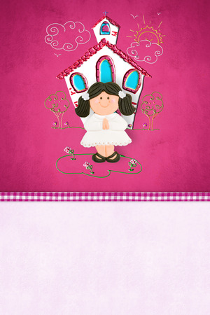 First Communion  reminder card for girl, brown girl and church with copy space for text photo