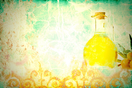 space for writing: Olive oil, colorful grunge background with space for writing text