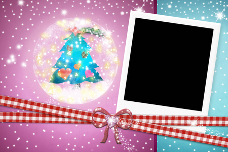 christmas photo frame: Christmas card, photo instant frame Christmas tree on blue and pink background