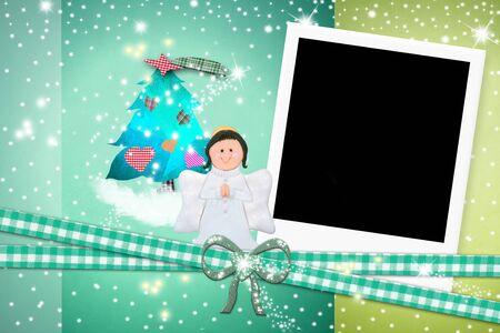 christmas photo frame: Christmas card Angel, photo instant frame Stock Photo