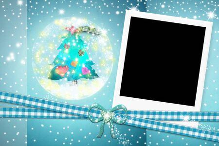christmas photo frame: Christmas card, photo instant frame Christmas tree on blue background