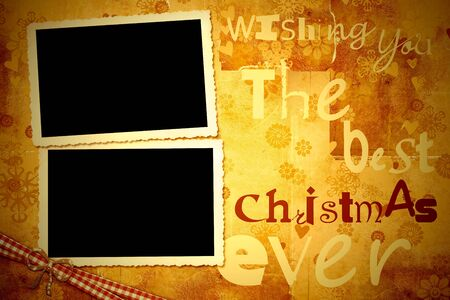 blank photo: Greeting Christmas card, two old photo frames on vintage background Stock Photo