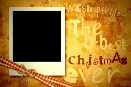 christmas photo frame: Greeting Christmas card, one instant photo frame on vintage background