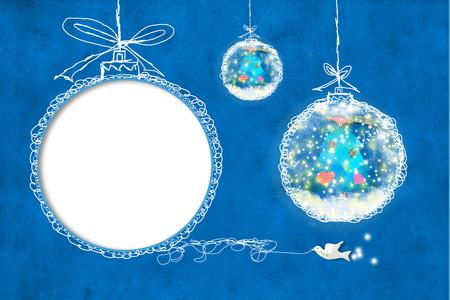 クリスマス カード、子供写真フレームワーク