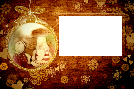 framework: Christmas Santa card, empty framework vintage background Stock Photo