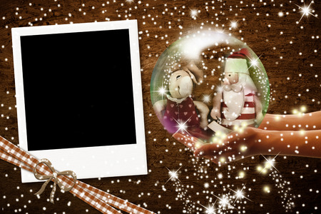 old fashioned christmas: Instant photo frame, vintage style Christmas greeting Stock Photo