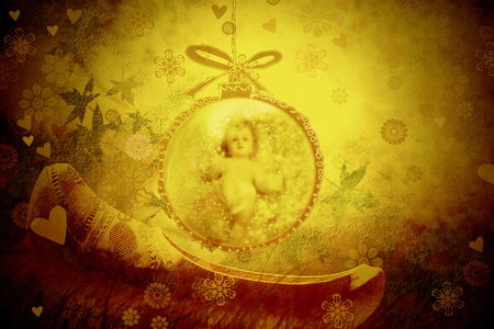 baby jesus: Christmas greeting card, Baby Jesus in a Christmas ball