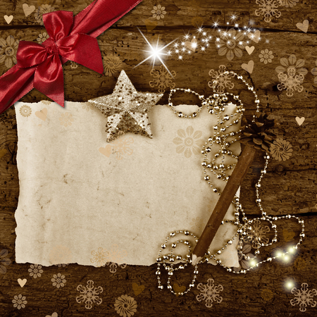 space for writing: Christmas greeting card with blank space for writing