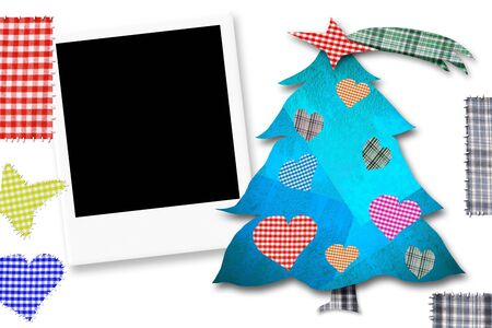 photoframe: Children Christmas Card with photoframe, Christmas tree made with paper cuts and fabrics