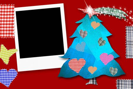 framework: Children Christmas Card with framework, Christmas tree made with paper cuts and fabrics on red background