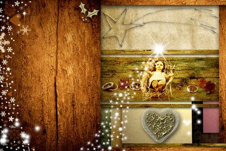retro christmas: Christmas greeting card Baby Jesus with empty space to put photo or write text Stock Photo