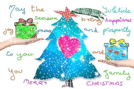 Christmas Greeting Postcard, Tree, Gifts And Children Handwriting ...