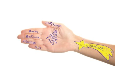 good wishes: Good handwritten Christmas wishes in the palm of the hand, isolated on white background Stock Photo