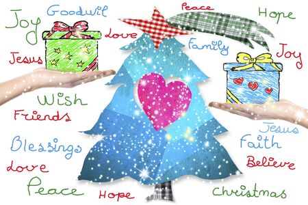 good wishes: Christmas greeting card,children handwritten good Christmas wishes