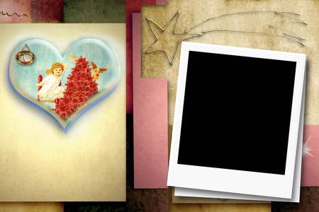 bebe a bordo: Cheerful Christmas card with instant frame for putting a photo Foto de archivo