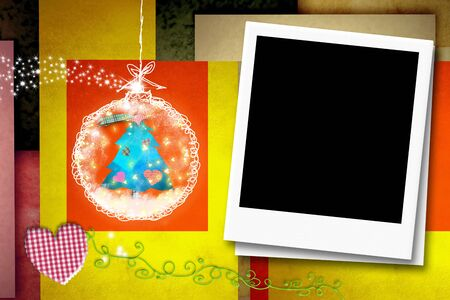 christmas photo frame: Cheerful Christmas card with instant frame for putting a photo Stock Photo