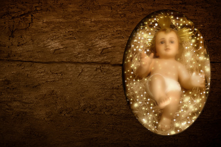baby jesus: Christmas postcards, Child Jesus and empty space to write message or put photos on rustic background