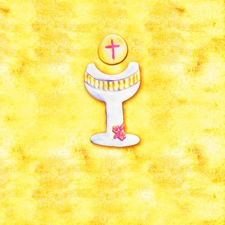 prima comunione: Prima carta di invito Comunione, allegro calice su carta sfondo giallo
