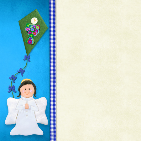 customization: My First Holy Communion invitation card, happy angel praying  on blue background with blank space for customization