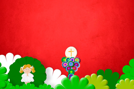 chalice: First Holy Communion invitation, chalice and blonde girl on red background with copy space for photo and message