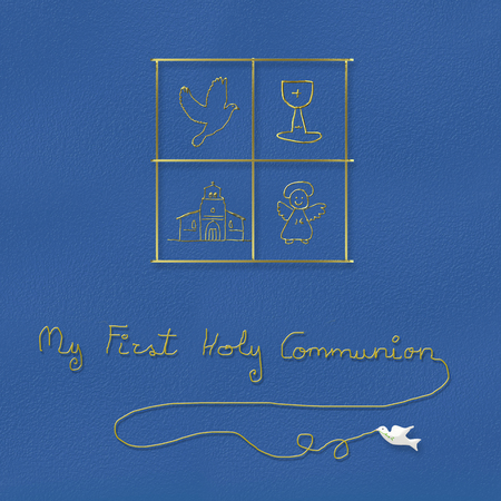first holy communion: My first holy communion , children religious symbols in blue background
