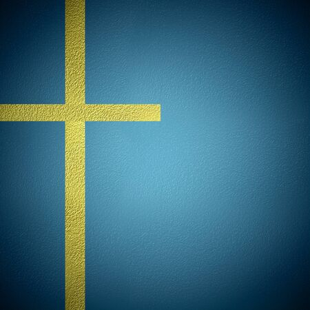 cooper: Cooper metal crucifix, religious symbol concept, cooper cross on blue background with copy space