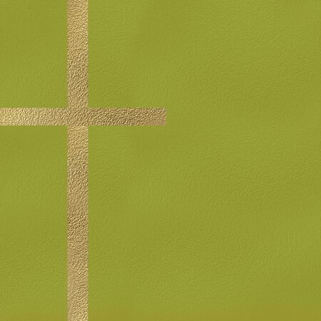 rood: Gold metal crucifix, religious symbol concept, golden cross on pistachio green background with copy space
