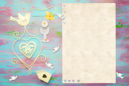 first communion: First Communion invitation card, religious symbols on colorful wood and  white space to put photo and text