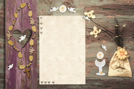 1st: First Communion invitation card, religious symbol on wooden background with copy space to put photo and text
