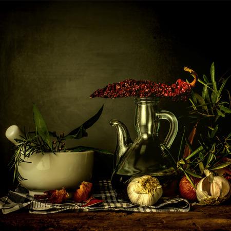 food still: Olive oil and seasoning food, old style still life